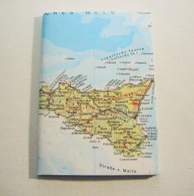 SIZILIEN Palermo ♥ schönes Notizbuch Landkarte *upcycling* - Handarbeit kaufen