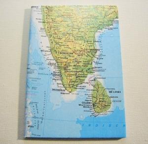 INDIEN mit Sri Lanka ♥ schönes Notizbuch Landkarte *upcycling*