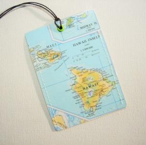 Kofferanhänger HAWAII ♥ Maui Landkarte *upcycling*