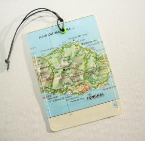 Kofferanhänger MADEIRA ♥ Funchal Landkarte *upcycling* - Handarbeit kaufen