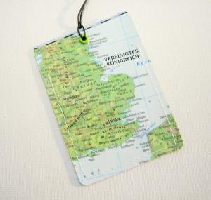 Kofferanhänger ENGLAND ♥ London Landkarte *upcycling* - Handarbeit kaufen
