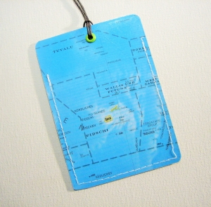 Kofferanhänger FIDSCHI ♥ Südsee Landkarte *upcycling* - Handarbeit kaufen