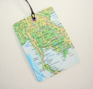 Kofferanhänger THAILAND ♥ Bangkok Landkarte *upcycling* - Handarbeit kaufen