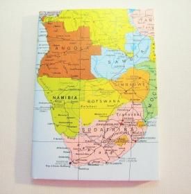 AFRIKA ♥ schönes Notizbuch Landkarte *upcycling* - Handarbeit kaufen