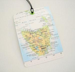 Kofferanhänger TASMANIEN ♥ Australien Landkarte *upcycling*