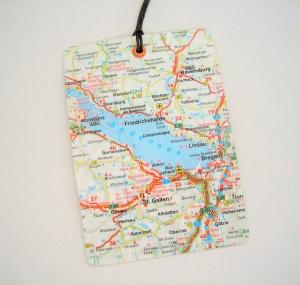 Kofferanhänger BODENSEE ♥ Friedrichshafen Landkarte *upcycling* - Handarbeit kaufen
