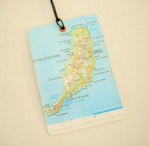 Kofferanhänger FUERTEVENTURA ♥ Kanaren Landkarte *upcycling* - Handarbeit kaufen