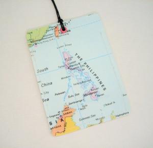 Kofferanhänger PHILIPPINEN ♥ Manila Landkarte *upcycling* - Handarbeit kaufen