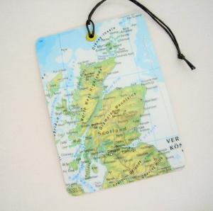 Kofferanhänger SCHOTTLAND ♥ England Landkarte *upcycling* - Handarbeit kaufen