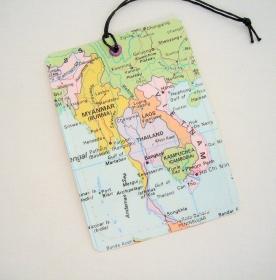 Kofferanhänger THAILAND VIETNAM ♥ Asien Landkarte *upcycling* - Handarbeit kaufen