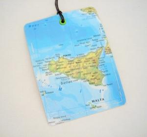 Kofferanhänger SIZILIEN ♥ Palermo Landkarte *upcycling* - Handarbeit kaufen