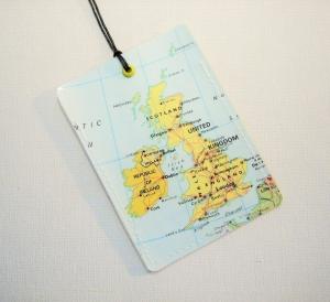 Kofferanhänger ENGLAND und IRLAND ♥ Landkarte *upcycling* - Handarbeit kaufen