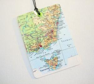 Kofferanhänger AUSTRALIEN mit Tasmanien ♥ Landkarte *upcycling* - Handarbeit kaufen