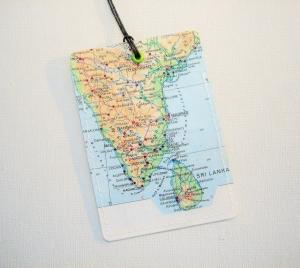 Kofferanhänger INDIEN mit SRI LANKA ♥ Colombo Landkarte *upcycling* - Handarbeit kaufen