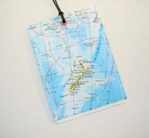 Kofferanhänger NEUSEELAND ♥ Auckland Landkarte *upcycling* - Handarbeit kaufen