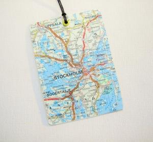 Kofferanhänger STOCKHOLM ♥ Schweden Landkarte *upcycling*