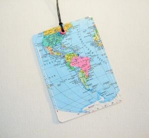 Kofferanhänger SÜDAMERIKA ♥ Brasilien Landkarte *upcycling* - Handarbeit kaufen