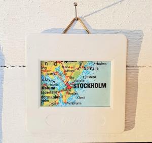 Dia Bild STOCKHOLM ♥ Landkarte Mini Wandbild - upcycling pur
