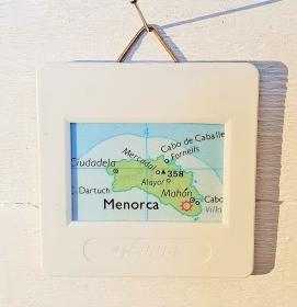 Dia Bild MENORCA ♥ Landkarte Mini Wandbild - upcycling pur