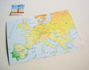 Tolle Postkarte EUROPA ♥ Frankreich *upcycling pur* - Handarbeit kaufen