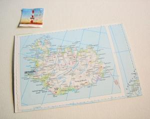 Tolle Postkarte ISLAND ♥ REYKJAVIK *upcycling pur* - Handarbeit kaufen