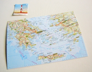 Tolle Postkarte GRIECHENLAND ♥ Kreta *upcycling pur* - Handarbeit kaufen