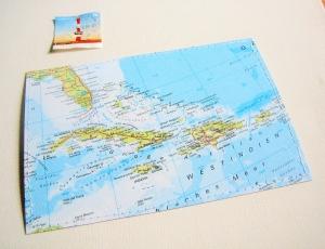 Tolle Postkarte KARIBIK ♥ Jamaika, Kuba, DomRep *upcycling pur* - Handarbeit kaufen