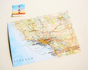 Tolle Postkarte LOS ANGELES ♥ Amerika *upcycling pur* - Handarbeit kaufen