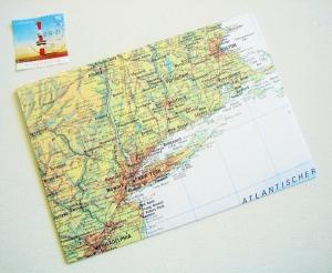 NEW YORK Amerika ♥ toller Briefumschlag Landkarte *upcycling* - Handarbeit kaufen