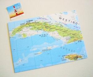 KARIBIK Kuba ♥ toller Briefumschlag Landkarte *upcycling pur* - Handarbeit kaufen