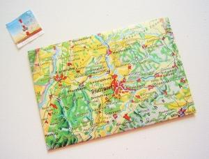 STUTTGART ♥ toller Briefumschlag Landkarte *upcycling pur* - Handarbeit kaufen