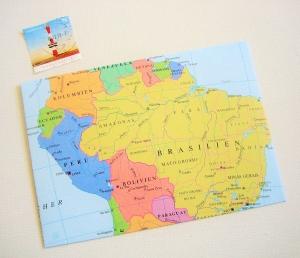 SÜDAMERIKA Brasilien ♥ toller Briefumschlag Landkarte *upcycling pur* - Handarbeit kaufen