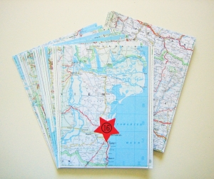 Adventskalender Landkarte ♥ 24 PAPIERTÜTEN *upcycling pur* Weihnachten - Handarbeit kaufen