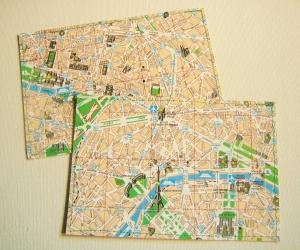 2er-Set Postkarten PARIS Stadtplan ♥ Frankreich *upcycling pur* - Handarbeit kaufen