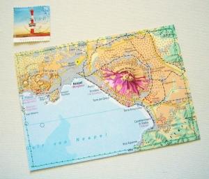 Tolle Postkarte VESUV  ♥ Neapel Italien *upcycling pur* - Handarbeit kaufen