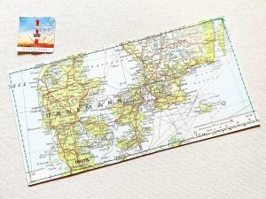 Tolle Postkarte DÄNEMARK ♥ Kopenhagen Landkarte *upcycling pur* DIN lang - Handarbeit kaufen