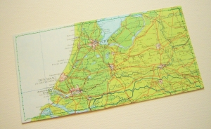 Tolle Postkarte NIEDERLANDE ♥ Amsterdam Landkarte *upcycling pur* DIN lang - Handarbeit kaufen
