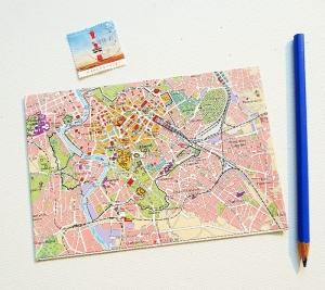 ROM Italien ♥ toller Briefumschlag Landkarte *upcycling pur* - Handarbeit kaufen
