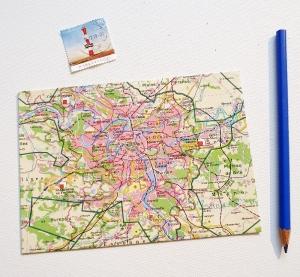 PARIS Frankreich ♥ toller Briefumschlag Landkarte *upcycling pur* - Handarbeit kaufen