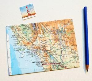 LOS ANGELES Amerika ♥ toller Briefumschlag Landkarte *upcycling pur* - Handarbeit kaufen
