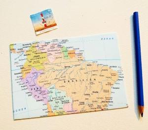 SÜDAMERIKA Brasilien ♥ toller Briefumschlag Landkarte *upcycling* - Handarbeit kaufen