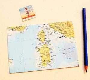 SARDINIEN und KORSIKA ♥ toller Briefumschlag Landkarte *upcycling* - Handarbeit kaufen
