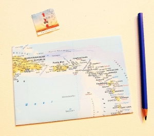 KARIBIK Antillen ♥ toller Briefumschlag Landkarte *upcycling* - Handarbeit kaufen
