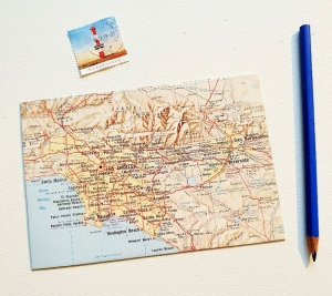 LOS ANGELES Amerika ♥ toller Briefumschlag Landkarte *upcycling* - Handarbeit kaufen