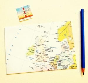 ENGLAND IRLAND ♥ toller Briefumschlag Landkarte *upcycling* - Handarbeit kaufen
