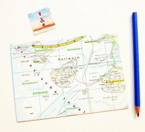 PELLWORM Insel ♥ toller Briefumschlag Landkarte *upcycling* - Handarbeit kaufen