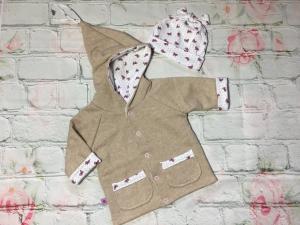 Baby- Wende- Jacke mit Mütze, Gr. 62 - 68