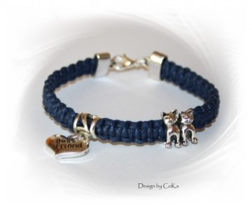 Armband für Katzenfreunde in Makrameetechnik geflochten, blau