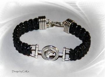 Makramee-Armband für Pferdefreunde in der Farbe schwarz/silber