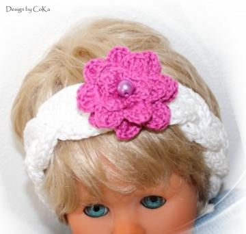 Stirnband für das schicke Baby in strahlendem weiß mit einer Häkelapplikation in der Farbe pink